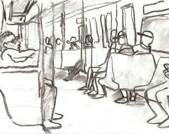 Take the A Train, NYC. Original Charcoal Drawing, 6x8 inch Sketch, New York City Subway Drawing, Signed Original Urban Fine Art