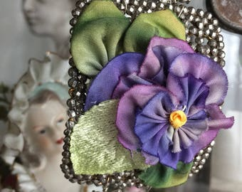 SALE! - pansy cuff - vintage assemblage bracelet steel cut buckle silk flower floral rhinestone pearl spring statement, the french circus