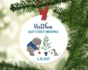 Babys First Christmas Ornament Personalized Babys First Christmas Ornament Boy Baby Christmas Ornament Baby Ornament Christening Gift Blue