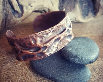 Copper Cuff Bracelet. Wide Hammered Copper Bracelet. Artisan HandForged Bracelet. Rustic Cuff, Primitive Style Copper 7th Anniversary Gift.