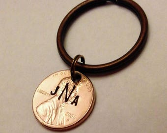 Monogram Keychain: Initials, Teen Boy Girl Gift, New Driver / Car, Personalized Stamped Lucky Penny Coin, Heart Option, 1959-2018, Gift Bag