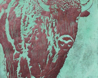 Bison - Original Linocut Print