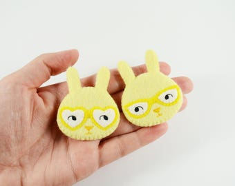 Couple Bunnies Felt Brooch / Couple Brooch / Romantic Felt Rabbit Pin / Felt Rabbit Brooch / Cute Rabbit With Glasses Pin / Lemon Bunny Pin