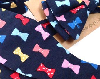 Nerdy boyfriend gift - Nerdy ties - Navy Blue Bow ties - Men's bow ties - Wedding ties - Fun Bow ties - Cotton bow ties - Kids bow ties