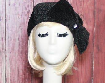 Black Velvet Beret Hat Bow