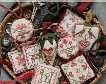 Festive Little Fobs #One... Valentine : Cross Stitch Pattern by Heartstring Samplery