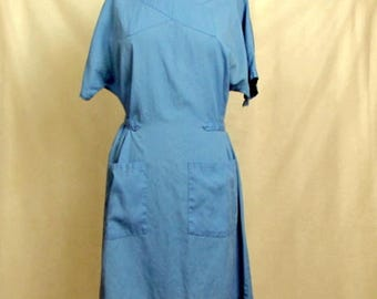 Vintage 1980s Chambray Scrub Hospital Dress ~ Surgery Gown Uniform Medium