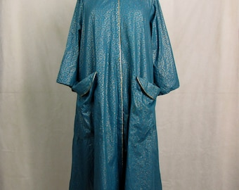 Vintage 1950/60s Leisure Life House Coat ~ Teal Daisies on Gold Background ~ Screen Printed ~ Cotton ~ Zipper Front ~ Medium/Large