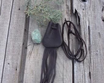Brown leather medicine bag ,  fringed medicine pouch, small bag , neck bag