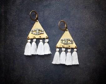 Boho Evil Eye Earrings Raw Brass Vintage Rhinestone Festival Tiny White Tassel Bohemian Gypset Festival Jewelry Assemblage Upcycled Retro