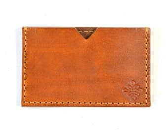 Handmade Leather Card Wallet Hand Dyed Brown Vegetable Tanned