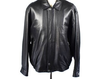 Dark Brown Leather Bomber Jacket, Size Large, EXCELLENT Condition!