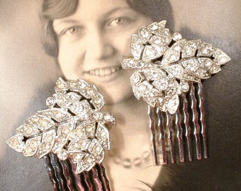 OoaK PAIR 1920s Flapper Rhinestone Leaf Bridal Hair Combs, Vintage Art Deco Silver Pave Original Dress Clips to Wedding Hair Piece Accessory