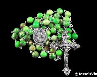 Catholic Rosary Beads Green Impression Jasper Natural Stone St Patrick Center Silver Traditional Five Decade Mens Rosary Catholic Gift