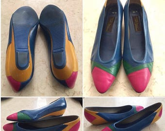 Vintage Sesto Meucci of Florence // Multicolored Shoes // 8.5 M Leather