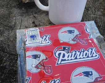 New England Patriots Coasters, Red Coasters, Set of Four Coasters