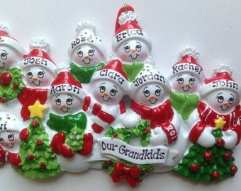 Ten Snowman Personalized Christmas Family Ornaments- Family of Ten, Grandkids, Co-workers, Friends- Free Personalization