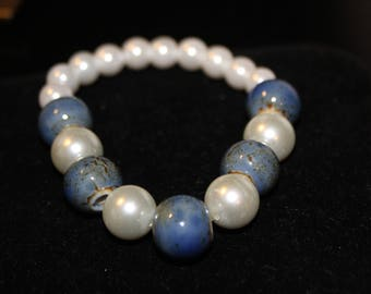 Faux Pearl and Blue Ceramic Bead Bracelet