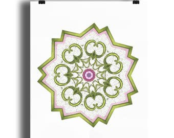 Elsie mandala 1 A4 print, Floral print, mandala style print, Art Nouveau style floral print, star floral print, from an original drawing
