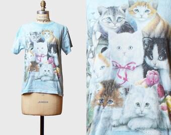 Vintage 90s Cat Shirt Kitten Animal Tie Dye TShirt / 1990s Tee Kawaii Graphic T shirt Retro Tee White Pink Blue Small Medium