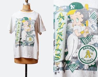 Vintage 90s Oakland A's Athletics Betty Boop T-shirt Graphic TShirt Cartoon 1990s Retro Baseball Shirt California Gray Green Yellow Medium