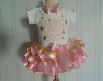Twinkle Little Star 1st Birthday Outfit- Pink and gold outfit -  Onesie/T-Shirt/Tutu