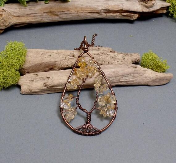 Citrine Tree of Life Necklace - Citrine Necklace - Gemstone Necklace - Citrine Teardrop Pendant - Copper Necklace - Yellow Teardrop Necklace