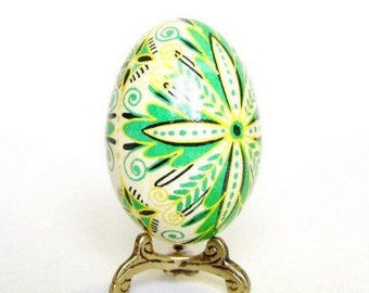 acid ached Green Leaf Pysanka batik Easter Egg amulet fresh start rebirth summertime birthday gift ideas spiritual keepsake small sculpture
