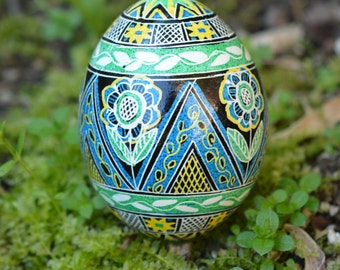 Pysanka Ukrainian Easter egg with green flowers and triangles beautiful summer inspired design new release perfect gift for birthday