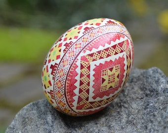 Christmas decorations and gifts Pysanka Ukrainian Easter batik decorated chicken egg Personalize this gift with name and date