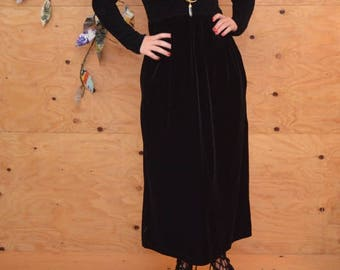 Vintage 90's Black Velvet Smocked Empire Waist Maxi Goth Dress SZ Medium