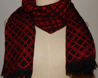 Authentic Yves Saint Laurent YSL Red & Black Plaid Wool Scarf