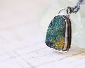 Rainbow Pyrite Drusy Necklace, Sterling Silver Statement Necklace, Raw Gemstone - Collector Stone - Cloths of Heaven