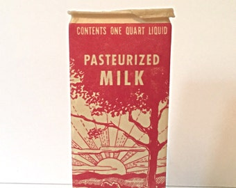 Vintage Wax Milk Container - One Quart - Pasterized Milk - Canco - American Can Co