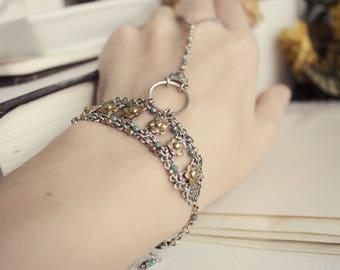 Silver & Brass Swarovski Bracelet - Mint - Gold - Floral - Romantic Winter Wedding - Bridal - Holidays - December - Christmas