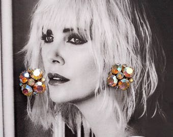 Vintage Weiss Aurora Borealis Rainbow Rhinestone Crystal Bulb Clip Earrings 1970s 1960s
