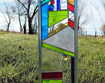 Colorful STAINED GLASS garden stake - accent your gardens with glass
