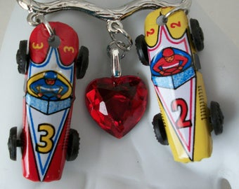 Assemblage Brooch/Tin Toy Jewelry/Tin Lithograph Race Cars/1950s/Acrylic Heart/Racing To Your Heart/Recycled Jewelry/Upcycled Jewelry