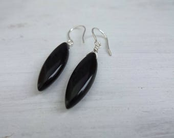 Black Onyx Earrings, Onyx Gemstones, Onyx Jewelry, Marquise Earrings, Simple Onyx Earrings, Mod Earrings, Sterling Silver Onyx, Gift Women