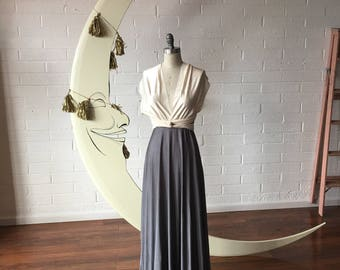 "Ready Made- Petite 48"" L Pewter with Ivory Satin Straps~ Octopus Infinity Wrap Dress.~ Bridesmaids, Wedding, Special Occasion, Prom"