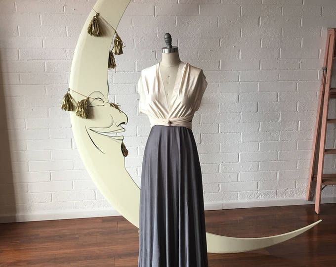 """Ready Made- Petite 48"""" L Pewter with Ivory Satin Straps~ Octopus Infinity Wrap Dress.~ Bridesmaids, Wedding, Special Occasion, Prom"""