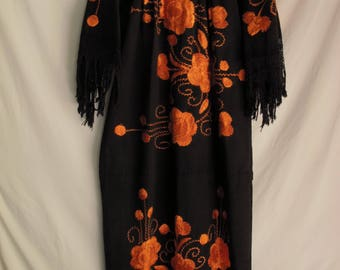 Vintage Mexican Embroidered Dress Long Maxi Caftan Boho Handmade 60s Peasant Dress Black Cotton w/ Orange Embroidery Fringe Sleeves and Hem