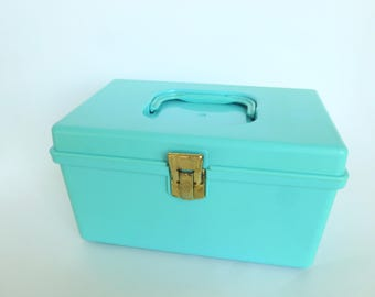 Wil-Hold Sewing Storage Box Carrying Case Turquoise Plastic by Wilson Manufacturing