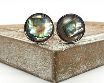 Sea Breeze Abalone Cufflinks – 18mm Round Abalone Shell Cufflinks – Abalone Cufflinks