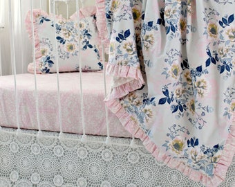 Pink Gray and Navy Bumperless Crib Bedding, Ethereal Lullaby Baby Bedding Set, featuring Ruffle Trim Blanket & Crochet Lace Skirt