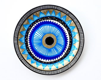 Evil Eye Decor - Decorative Plate - Plate Decor - Greek Evil Eye Decor - Evil Eye - Blue Evil Eye - Wall Decor - Wall Hanging - Mandala