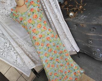 1930s Semi Sheer Long Bias Cut Floral Summer Dress