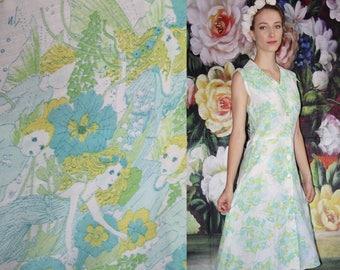 60s Vintage Pastel Novelty  Print Fairy Cotton Day Dress - 60s Novelty Dresses - 60s Clothing - WV0581
