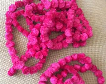 Vintage 1960s 1970s Pom Pom Dingle Balls Bright Pink 4 Separate Strings 194 Balls All Sold Together Crafts Arts Sewing