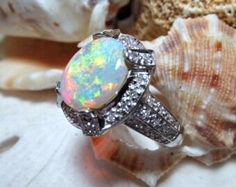 14k Australian Opal and Diamond Ring White Gold 6.85g Size 7